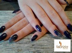Almond / Stiletto shaped acrylic nails in Gelish polish Dark Side with glitter ombre on accent nails