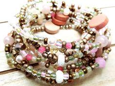 Gypsy Wrap Bracelet, Bohemian Jewelry, Simple Pink Bracelet, Stretch Bracelet, Gift for Her, Valentines Day, Long Bead Necklace by ChristalDreamz on Etsy