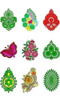 Applique January 2019 Bulk Download | 50 Designs New Embroidery Designs, Embroidery Suits Design, Embroidery Motifs, Textile Pattern Design, Textile Patterns, Quran Transliteration, Geometric Painting, Border Design, Sarees