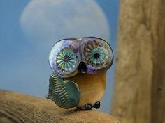 Merlin...... lampwork owl bead... sra by DeniseAnnette on Etsy, $11.00