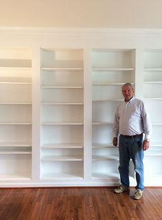 Custom DIY built-ins using IKEA Billy Bookcases, an affordable way to get the expensive built-in look for a fraction of the price. diy built in how to build DIY Built-in Custom Bookshelves Using IKEA Billy Bookcases Hack Built In Wall Shelves, Bookcase Wall, Storage Shelves, Closet Shelves, Ikea Wall Shelves, Floor To Ceiling Bookshelves, Closet Wall, Ikea Closet, Wall Shelving