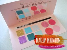 Girl's Barbie/Makeup party invitation using different colored cardstock paper. Super easy + cheap.