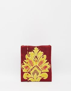 Image 1 ofMoyna Silk Cross Body Bag in Oxblood with Gold Applique