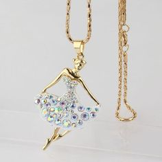 Creative Design 18K Gold Plated Austrian Crystal Necklace Women Colorful Fairy Dress Pendant Sweater Chain