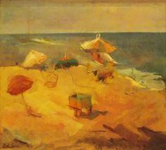 """Las Sombrillas (playa de MDQ)"" Autor: Raúl Soldi #arte #art #painting"
