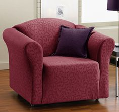 This One-Piece Aubergine Velvet Fresca Stretch Chair Slipcover is perfect! Armchair Slipcover, Slipcovers For Chairs, Armchair Covers, Furniture Slipcovers, Box Cushion, Wing Chair, Furniture Covers, My Living Room, Tub Chair