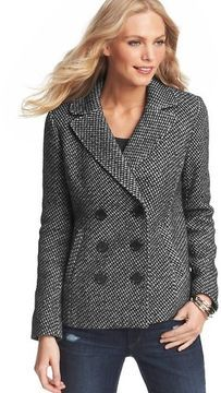 Petite Tweed Double Breasted Pea Coat on shopstyle.com