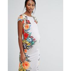 Bluebelle Maternity Cap Sleeve Floral Print Bodycon Dress ($17) ❤ liked on Polyvore featuring maternity, multi and polyester jersey