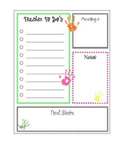 Free! Printable Teacher To Do List!