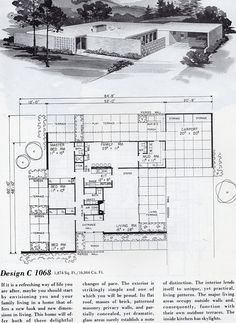 Mid century house plan and elevation, magazine page Vintage House Plans, Modern House Plans, House Floor Plans, Mid Century Ranch, Mid Century House, Mcm House, House Design Photos, House Blueprints, Architecture Plan