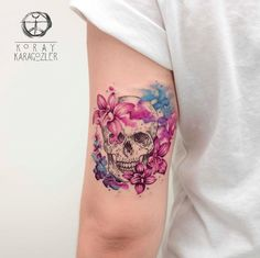 Floral watercolor skull by Koray Karagozler