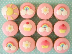 Rainbow & flower cup cakes with fondant icing