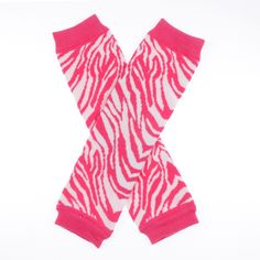 Hot Pink Zebra Cotton Leg Warmers  *