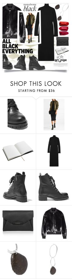 """""""Monochrome: All Black Everything"""" by stylepix ❤ liked on Polyvore featuring House of Hackney, Haider Ackermann, Prada, Givenchy, J Brand and Simon Miller"""