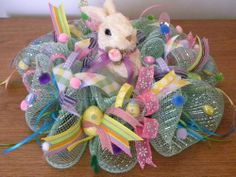 One of a kind - Hand Designed - Easter Deco Mesh Bunny Table Centerpiece -