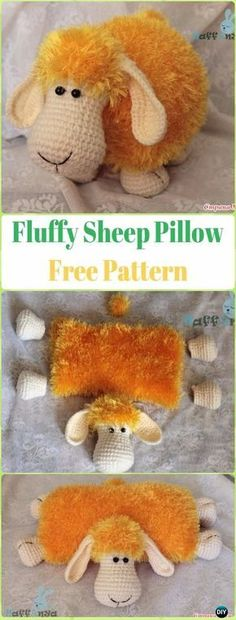 Amigurumi Fluffy Sheep Pillow Free Pattern - Crochet Sheep Free Patterns