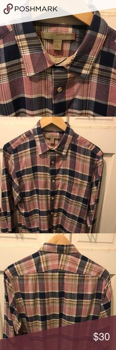 Banana Republic Heritage Plaid Long Sleeve Men's S Banana Republic Heritage Plaid shirt size 14-14.5 small made in Sri Lanka men's blue/red/tan the chest is 18 inches the height is 28 inches and the sleeves are 22 inches long Banana Republic Shirts Casual Button Down Shirts