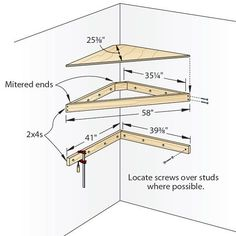 Corner tv shelf plans Discover Pins about corner tv shelves on . Corner Tv Shelves, Diy Corner Shelf, Corner Tv Cabinets, Tv Shelf, Floating Corner Shelves, Corner Tv Mount, Corner Shelves Bedroom, Corner Table, Wall Cabinets