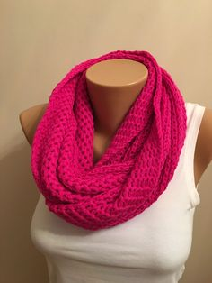 A personal favorite from my Etsy shop https://www.etsy.com/listing/260281484/fuschia-infinity-knit-loop-scarfcowl