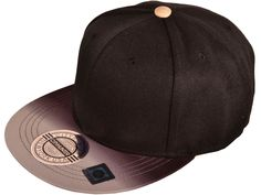 044a6715895 City Hunter Gradient Flat Bill Snapback Caps Hats (Black Khaki)