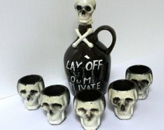 Vintage Skull Poison Decanter & Shot Glasses