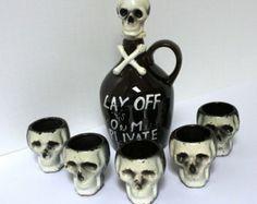 Vintage Skull Poison Decanter & Shot Glasses