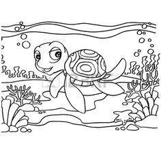 Turtles Coloring Pages vector Stock Vector