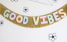 Good Vibes Glow in the Dark Fringe Banner room decor by FunCult