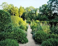 A gravel pathway through one of Deborah Nevin's gardens. | Image via: Elle Decor