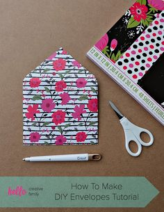 Make Your Own Envelopes Templates New How to Make Diy Envelopes Tutorial Hello Creative Family Scrapbook Paper Projects, Christmas Scrapbook Paper, Scrapbook Designs, Scrapbook Cards, Scrapbook Journal, Travel Scrapbook, Scrapbooking Ideas, Handmade Scrapbook, Paper Crafting
