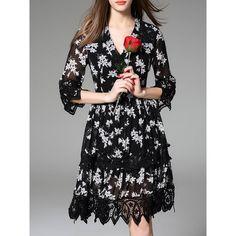 Black V Neck Print Contrast Lace Dress (125 BAM) ❤ liked on Polyvore featuring dresses, pattern dress, v neckline dress, lacy dress, v neck dress and v-neck dresses