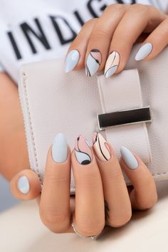 Painting Nails Different Colors Trend. New Painting Nails Different Colors Trend. Dangers Of A No Chip Manicure Fall Nail Art Designs, Acrylic Nail Designs, Neutral Nail Designs, Simple Nail Designs, Spring Nail Art, Spring Nails, Summer Nails, Cute Nails, Pretty Nails