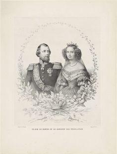 Portret van Willem III, koning der Nederlanden, en Sophie van W�rttemberg, anoniem, Elias Spanier, M.J. Visser, 1854 - 1871
