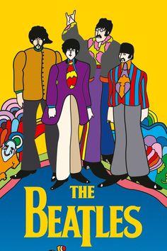 Beatles Poster, Les Beatles, Beatles Art, Kids Poster, Yellow Submarine Art, Rock Poster, Vintage Fairies, We Will Rock You, Hippie Art