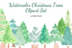 Watercolor Christmas Tree, Christmas Tree Clipart, Christmas Trees, Etsy Business, Business Tips, Sell On Etsy, Clip Art, Hand Painted, Etsy Shop