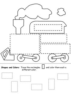 Trace and Color Shapes Train Worksheet for Kids