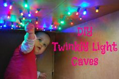 DIY Twinkly Light Caves.  Create a magical space for your little one.  All you need is a cardboard box and a string of lights!  Pin this site!  25 Winter Activities in 25 Days!