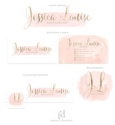 Watercolor Business Logo Gold Logo Design Gold Foil by fancybelle