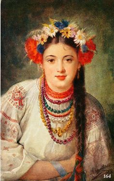Embroidery from Northern Left-Bank Ukraine, Sumy, Chernyhiw and Starodub regions Russian Folk Art, Ukrainian Art, Folklore, Flower Head Wreaths, Flower Crowns, Flower Headdress, Thinking Day, Beautiful Paintings, Art Music