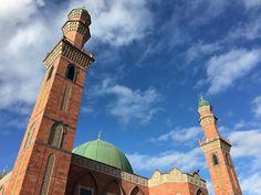 On a regular Thursday lunchtime walk with @bradfordmdc staff I was struck by the beauty of this mosque against the blue sky. #lookup #igersbradford #bluesky #aljamiasuffatulislam #bradford #mosque #lovebradford #bigupbradford #nofilter