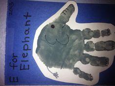 E for elephant handprint. Preschool Letter Crafts, Preschool Projects, Daycare Crafts, Letter A Crafts, Preschool Activities, Elephant Artwork, Elephant Crafts, Toddler Art Projects, Toddler Crafts