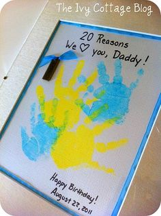 Kids handprint gift to parents or even grandparents. Sure to melt their heart!    #fathersday #handprints #homemadegifts #kids #kidscrafts