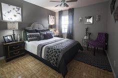 Absolutely loving my new black & gray guest room. Designed by Marlene Stotts of Exquisite Interior Decor.