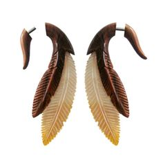 Pair-Fake-Faux-Hand-Carved-TWO-FEATHER-MOTHER-PEARL-GAUGES-EARRINGS-Wood-Steel