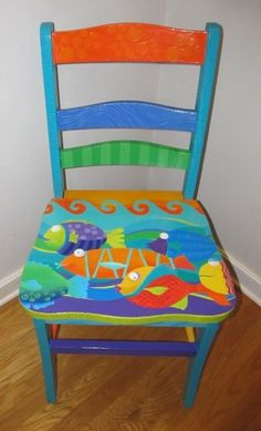painted chairs - Chairs AM Designs Hand Painted Chairs, Whimsical Painted Furniture, Hand Painted Furniture, Funky Furniture, Refurbished Furniture, Colorful Furniture, Paint Furniture, Repurposed Furniture, Furniture Projects