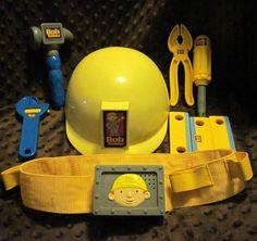 Bob the Builder Talking Tool Belt Hard Hat Toy Tools Dress Up Play Costume GUC #BobtheBuilder