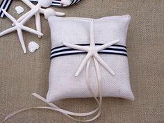 Starfish White Burlap Ring Bearer Pillow - Beach Wedding · That ...