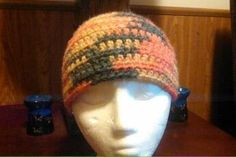 Yellow, Green and Orange beanie. Great for fall!