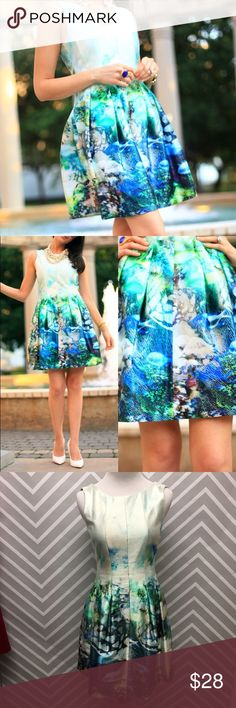 ZARA Ocean Iridescent Dress Gorgeous iridescent under the sea dress by ZARA. Two small snags as pictured (reflected in pricing). Size small. Zara Dresses Mini