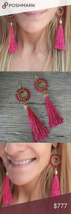Fabulous Pink bear and tassel earrings BRAND new  Boutique item  Playful pink bead and tassel earrings with gold toned metal detail. I love this earrings!! Pair with any outfit for a fun and playful look!!  Hook style  Gift present party trendy chic classy tassles tassels beaded cruise tropical vacation date night Vegas cruise SASSY Jewelry Earrings